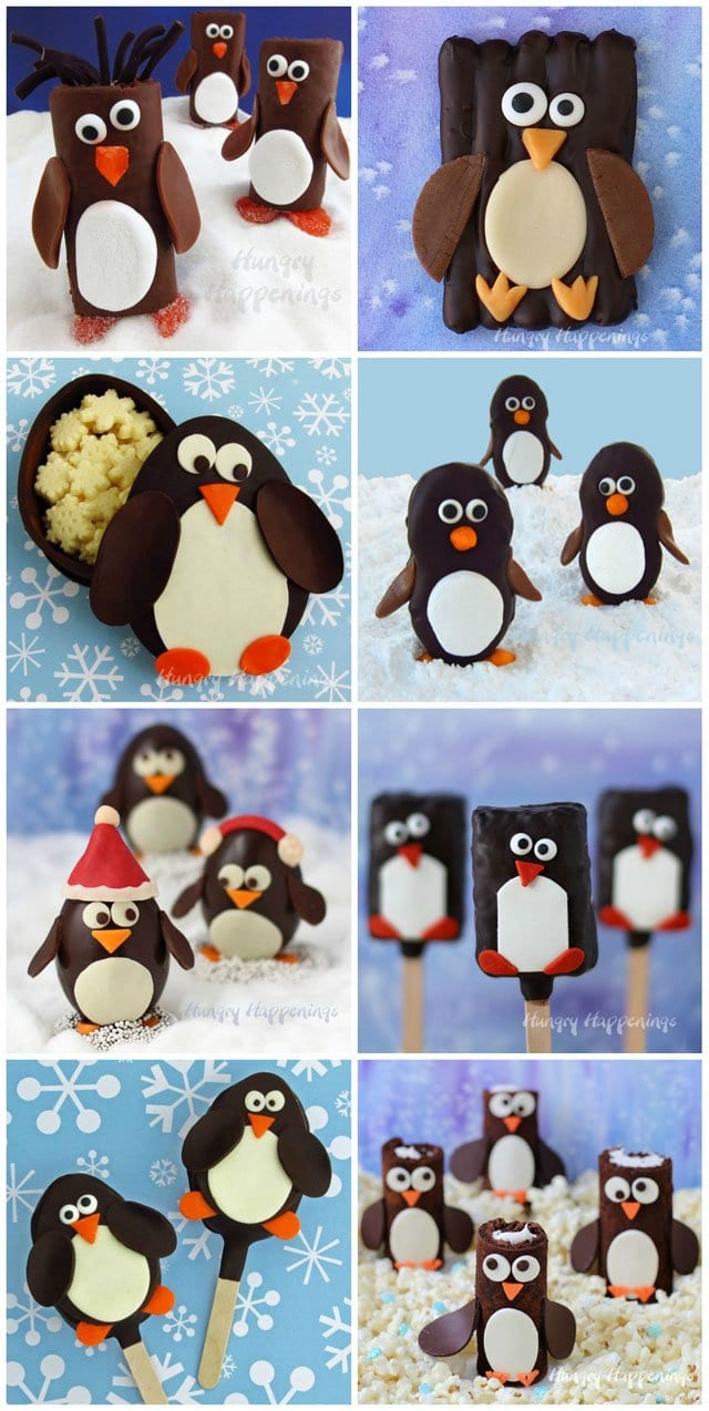 Cute Penguin Treats make great desserts or favors for your holiday parties. See all the tutorials at HungryHappenings.com.