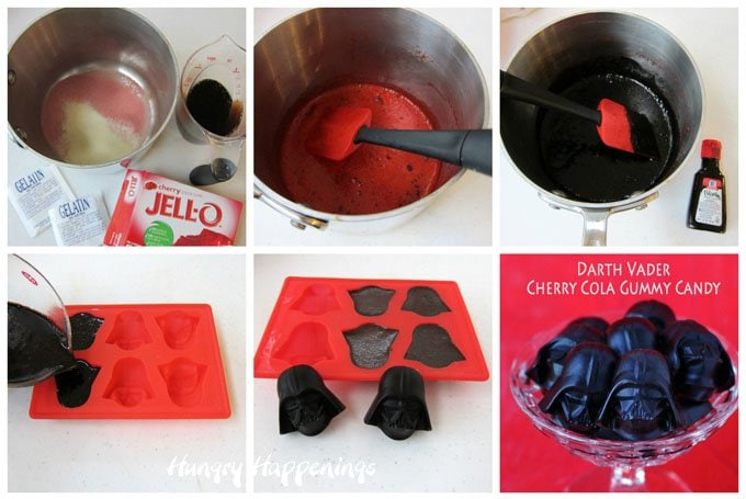 Use cola and cherry gelatin to make Darth Vader Cherry Cola Gummy Candies then snack on these Star Wars treats while you watch the movies.