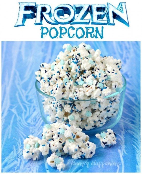 White Chocolate Frozen Popcorn with snowflake sprinkles.