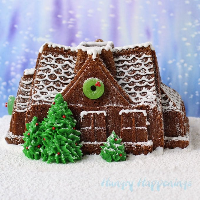 If you love the look of a gingerbread house, but don't have days to decorate, then make a Gingerbread House Cake instead. It's simple using a gingerbread house cake pan and cake mix.