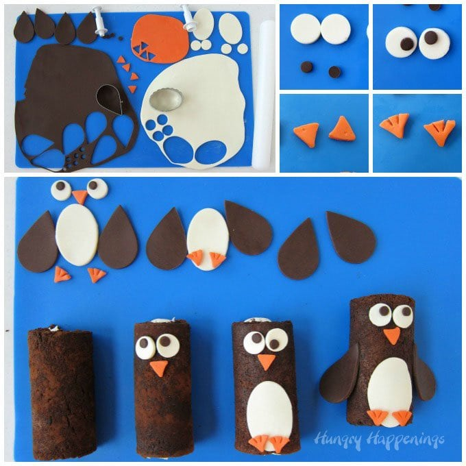 Decorate mini chocolate cake rolls to look like adorably cute penguins to serve during the holidays.
