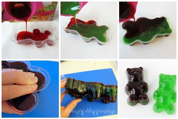 It's easy to make giant gummy bears at home using a plastic bear mold and a simple gummy candy recipe.