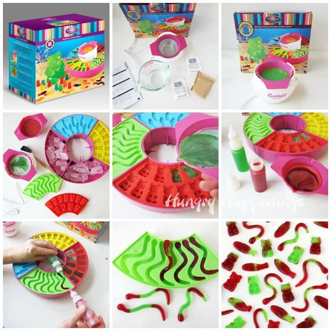 Kids will have a blast making their own gummy bears, worms, and fish using the Nostalgia Gummy Candy Maker.