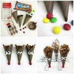 Turn chocolate waffle cones into Rudolph Cones then fill them with your favorite Christmas treat to give as gifts or party favors.