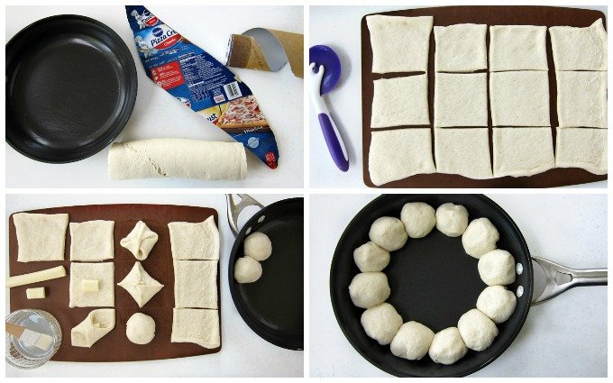 Use Pillsbury Pizza Dough to make cheese filled pizza puffs then bake with pizza dip in a skillet.