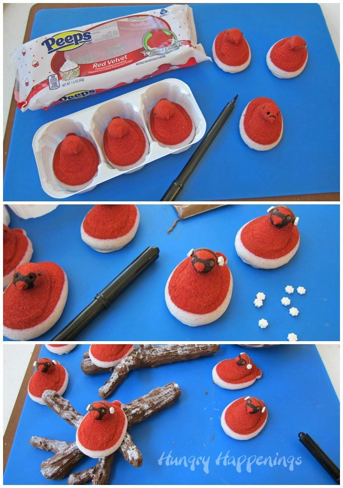 Turn Red Velvet Peeps into cardinals then set them on chocolate caramel pretzel branches for a fun winter treat.