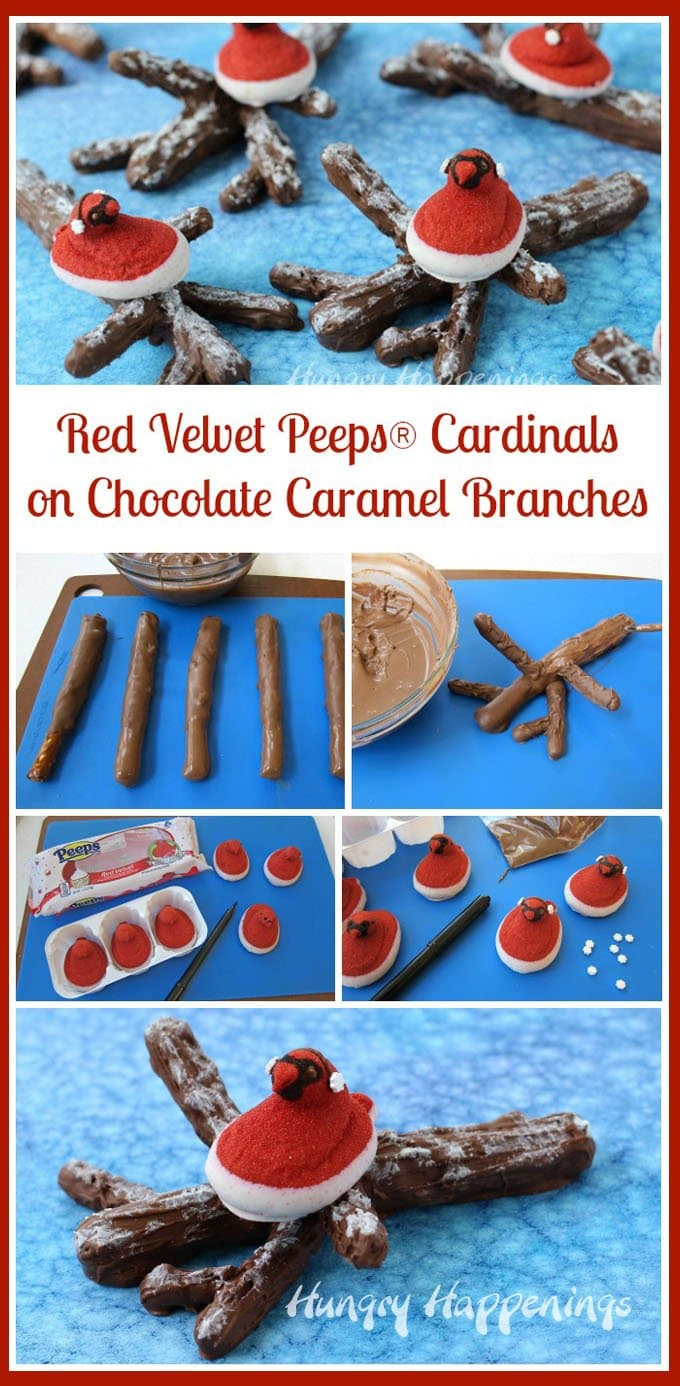 Red Velvet Peeps look like cardinals sitting in the snow, so I put them on top of snow covered chocolate caramel covered pretzel branches for some winter fun. See how you can make these yourself at HungryHappenings.com.