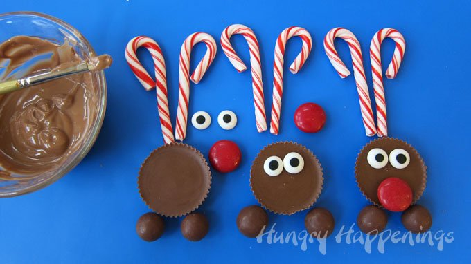 Create a Reese's Cup reindeer head to attach to chocolate cupcakes.