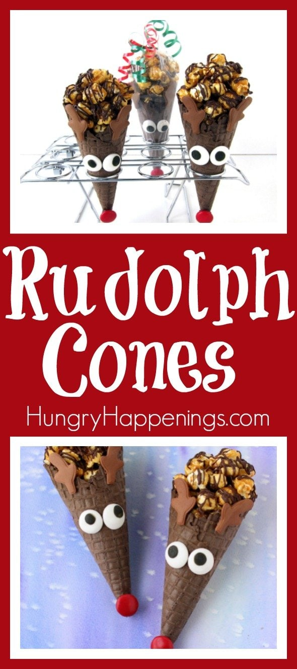 Need a last minute treat to take with you to your Christmas celebration? Grab some chocolate waffle cones and turn them into Rudolph Cones then fill them with your favorite Christmas treat.