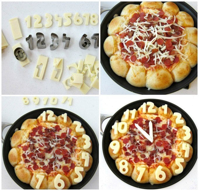 Turn a skillet pizza dip into a fun New Year's eve party appetizer. This Skillet Pizza Dip Countdown Clock is loaded with 5 kinds of cheese, pepperoni and bacon. Your party guests will love it.