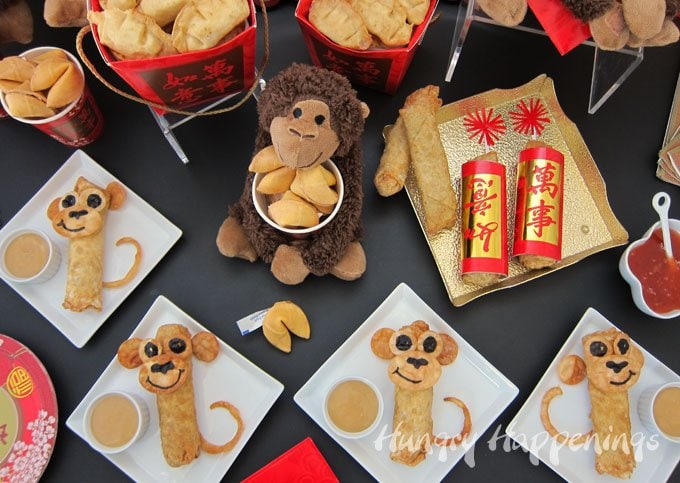 Celebrate the year of the monkey by crafting some Egg Roll Monkeys for your Chinese New Year party. See the tutorial at HungryHappenings.com.
