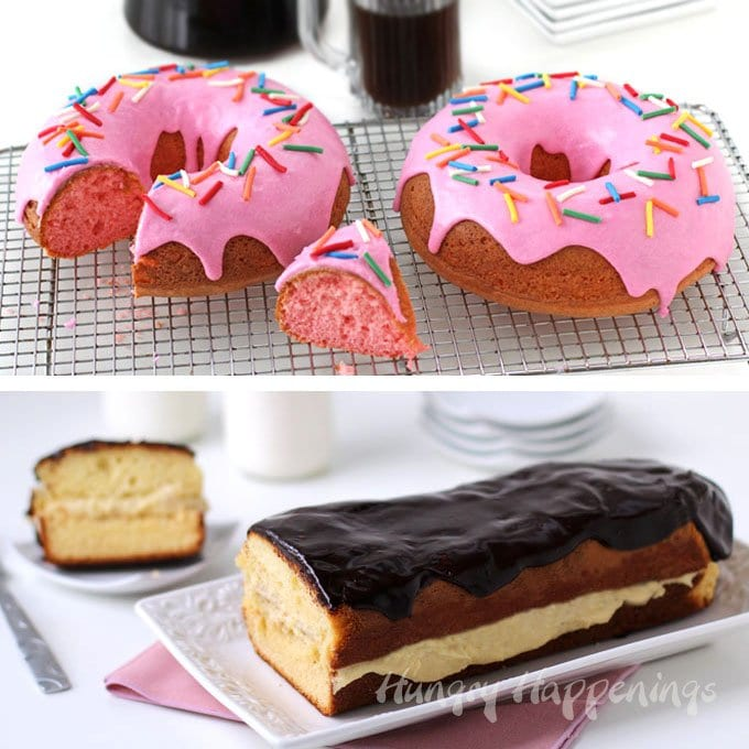 Serve Pink Donut Cakes or an Eclair Cake for breakfast or dessert. These supersized breakfast sweets will be fun any time of day. | HungryHappenings.com