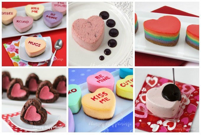 Use heart shaped silicone molds to make amazing Valentine's Day desserts including Conversation Heart Cheesecakes, Cranberry Semifreddo, and Cheesecake Stuffed Brownie Hearts. See the recipes at HungryHappenings.com.