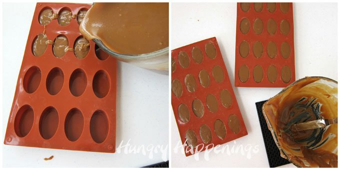 Pour homemade caramel into oval silicone molds, let harden, then decorate with whit chocolate laces to create Caramel Footballs.