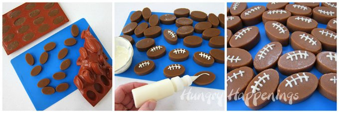Turn oval shaped caramels into footballs by piping on white chocolate laces.