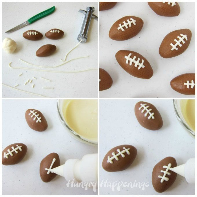 Add white chocolate laces to Chocolate Caramel Fudge Footballs to make sweet Super Bowl snacks.
