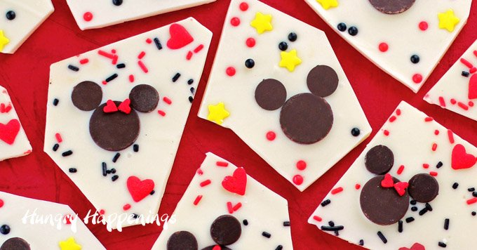 Mickey and Minnie Mouse Chocolate Bark