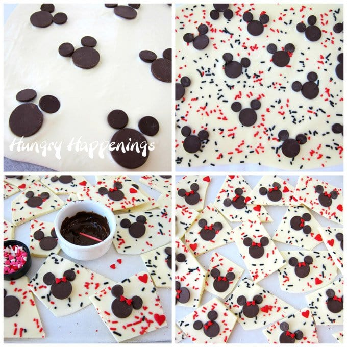 It's easy to make Minnie Mouse Chocolate Bark topped with red and black sprinkles. See how at HungryHappenings.com.