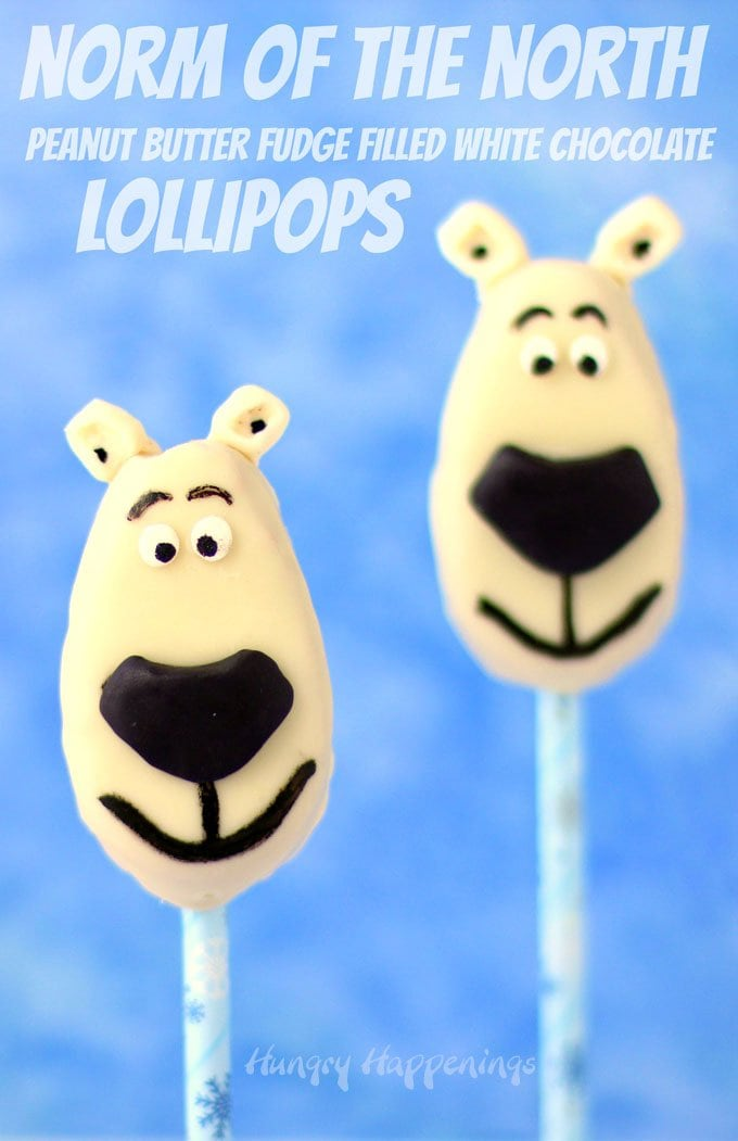 Norm of the North Lollipops are made by decorating white chocolate peanut butter fudge filled eggs. See how at HungryHappenings.com.
