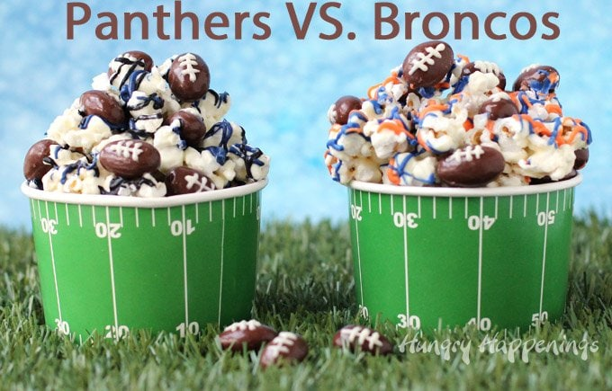 Add your favorite team's color to white chocolate popcorn and toss in some chocolate almond footballs to serve at your Super Bowl party. See the recipe at HungryHappenings.com.