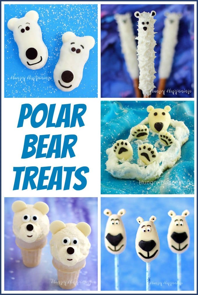 Polar Bear Treats including Nutter Butter Polar Bears, Polar Bear Pretzels, and more. Check them out at HungryHappenings.com.