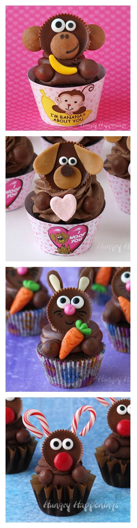 Turn Reese's Cups into adorably cute cupcakes. Make Monkeys, Puppies, Bunnies, and Reindeer. See how at HungryHappenings.com.