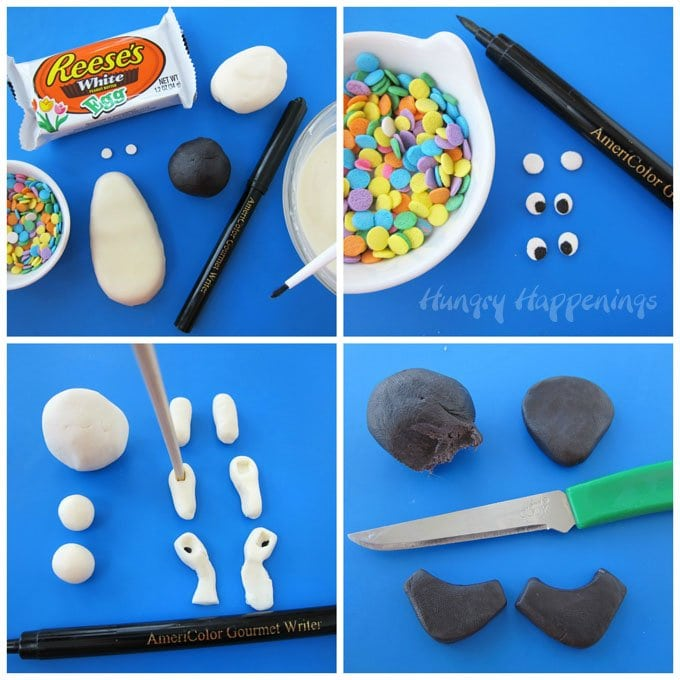Decorate Reese's White Chocolate Eggs to make Norm of the North Lollipops