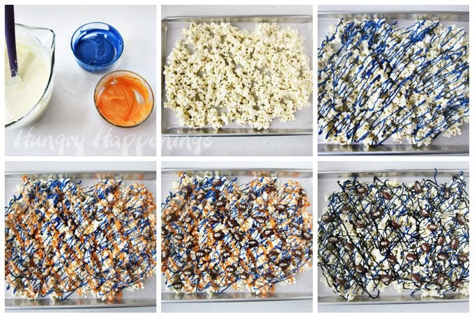 How to make white chocolate popcorn with your favorite team colors to cheer on your team for Super Bowl. See the tutorial at HungryHappenings.com.