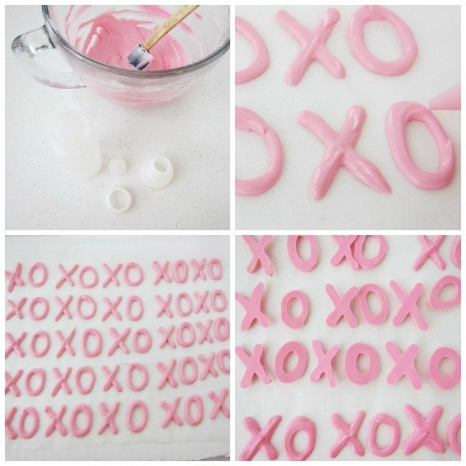 Pipe pink chocolate X's and O's to add to milk chocolate bark for Valentine's Day.