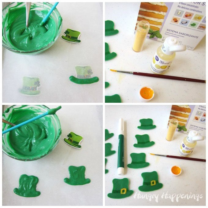 Make green Leprechaun hats for St. Patrick's Day using candy melts.