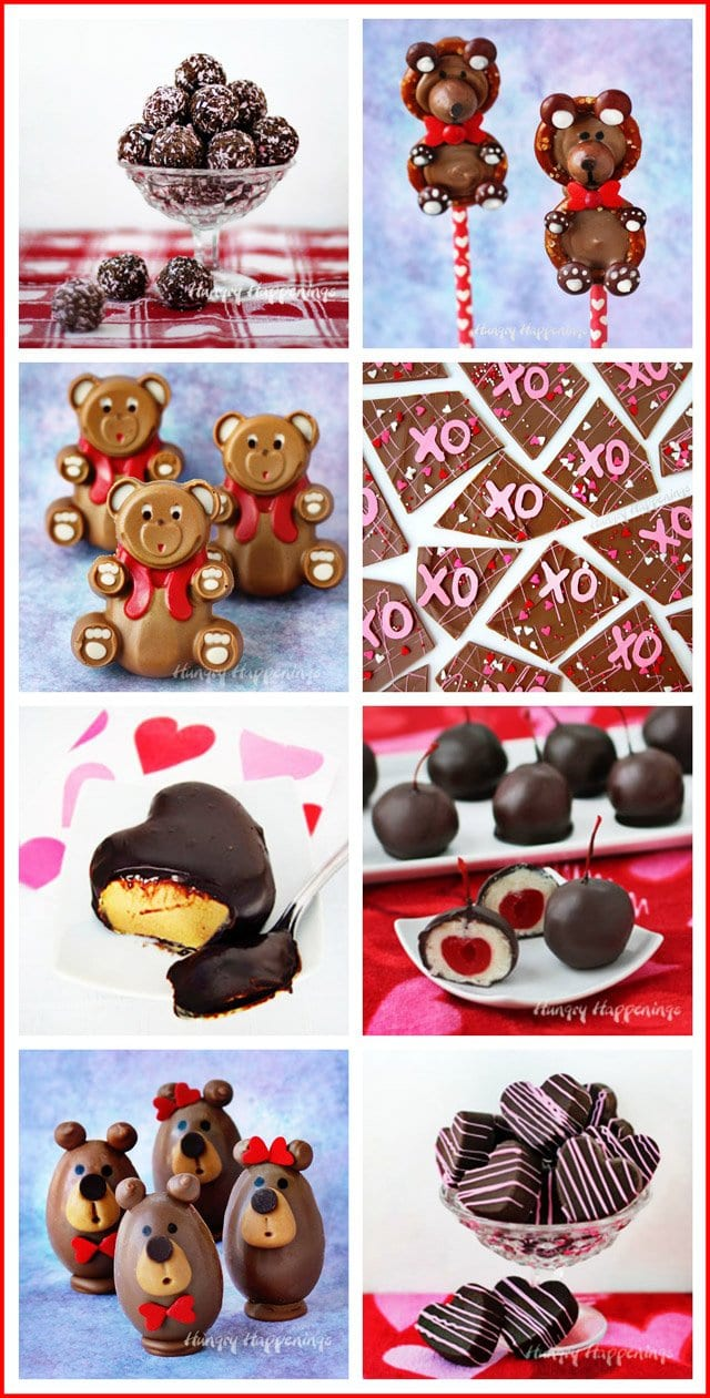 Have fun making homemade chocolates for Valentine's Day. See how to make all of these sweet treats at HungryHappenings.com.