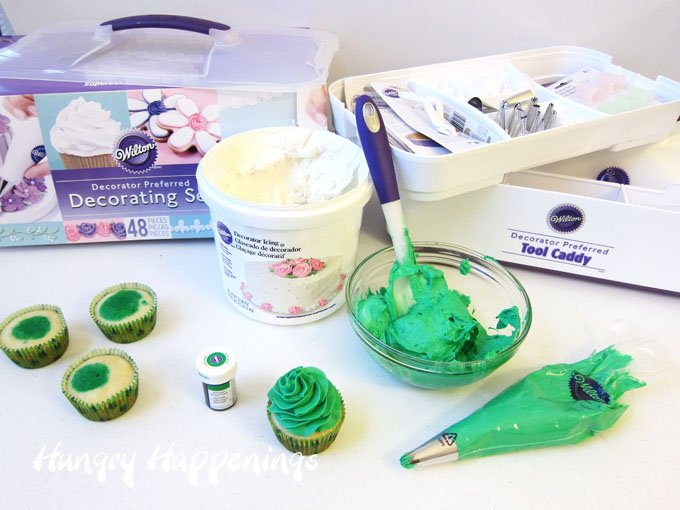 Wilton Decorating Caddy has everything you need to decorate cupcakes.