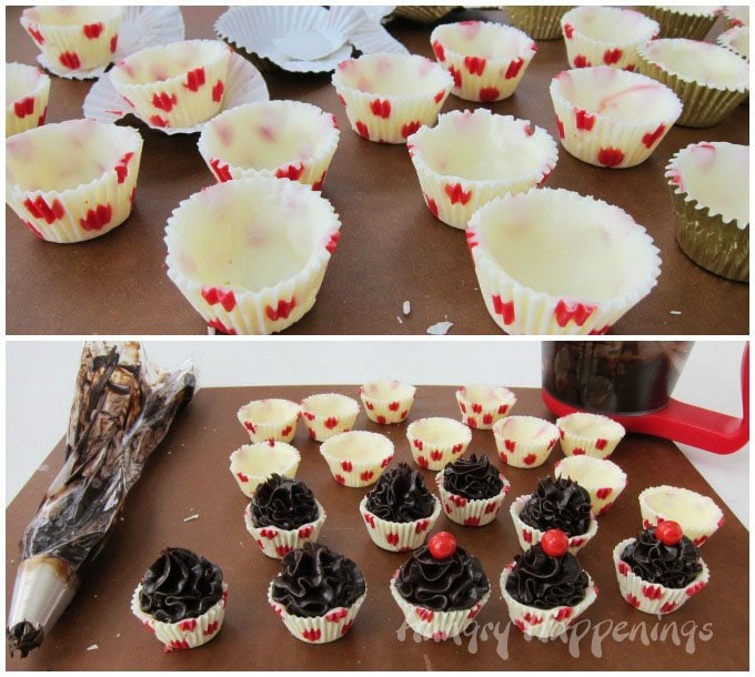 How to make polka dot white chocolate cups to use to create chocolate truffle cupcakes.
