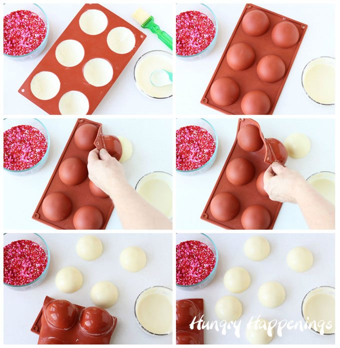 See how to make white chocolate bowls using a semi-sphere silicone mold at HungryHappenings.com.
