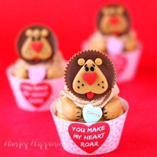 "Lion Cupcakes with ""You Make My Heart Roar"" Cupcake Wrappers"