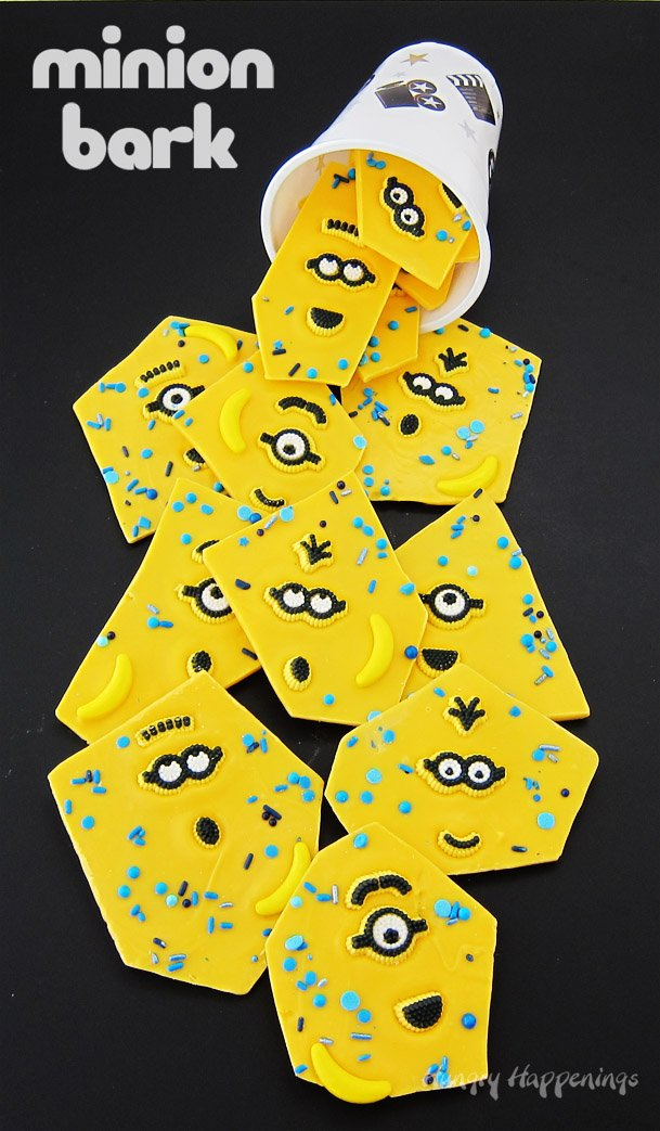 Minion Bark couldn't be easier to make or more fun to eat. Each piece of white chocolate bark is topped with candy Minion Googles and blue sprinkles. See the tutorial at HungryHappenings.com.