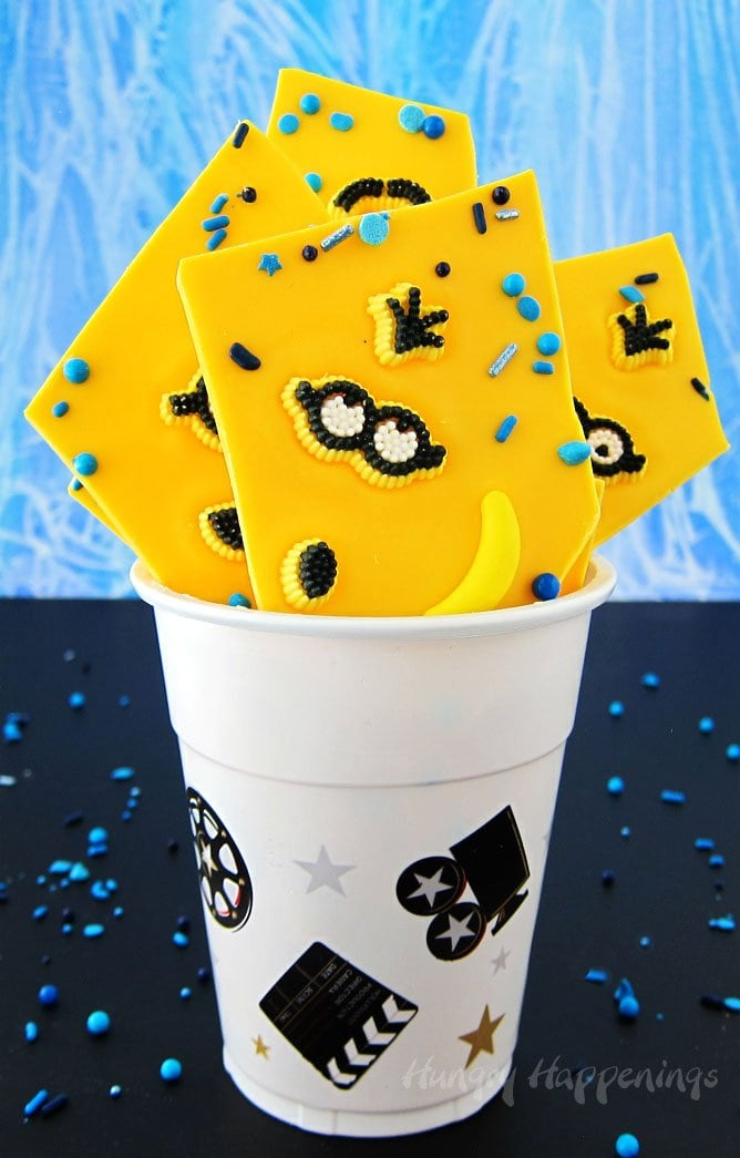 It's fun an easy to make bright yellow Minion Bark using yellow candy melts.