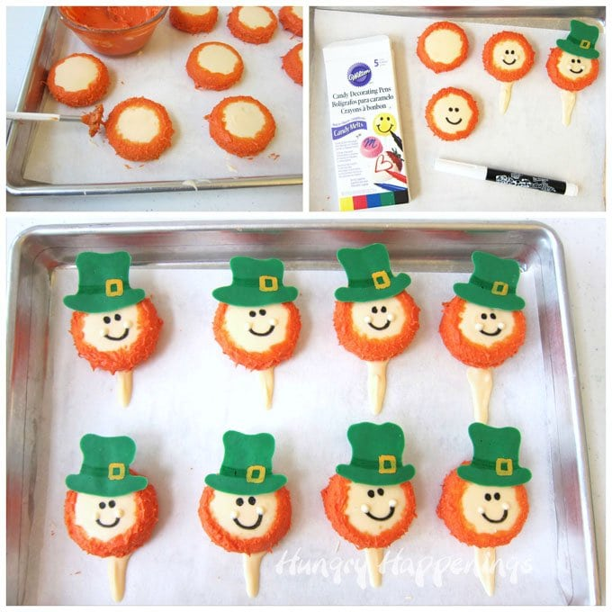 Decorate Oreos to look like Leprechauns then use them to top St. Patrick's Day cupcakes.