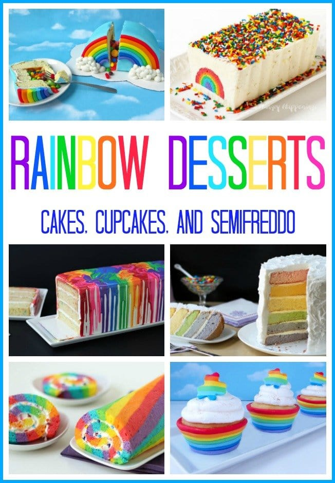 Rainbow Desserts make any celebration brighter. Serve cakes, cupcakes or even a semifreddo for a St. Patrick's Day, Easter, or Birthday party.