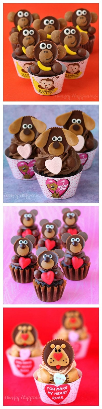 Reese's cup Valentine's Day Cupcakes. See the tutorials at HungryHappenings.com.
