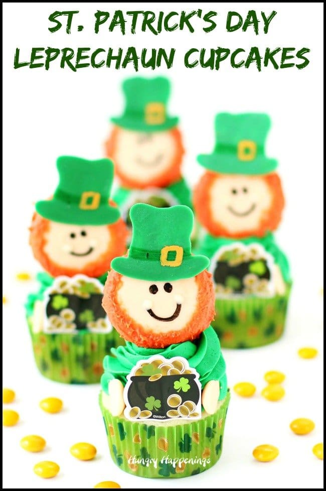 Decorate Oreo's and use them to create these adorable Leprechaun Cupcakes for St. Patrick's Day.. See how at HungryHappenings.com.