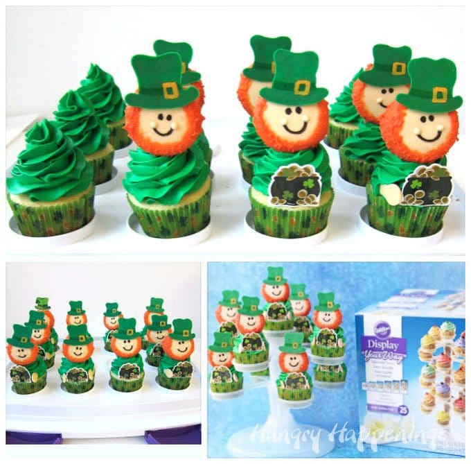 Top cupcakes with a big swirl of green frosting and an Oreo Leprechaun Cookie to make cute St. Patrick's Day treats.