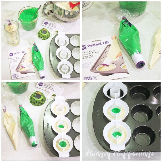 Easily make two tone surprise inside cupcakes using a Wilton cupcake pan and mold.
