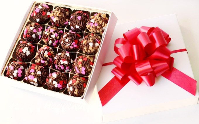 Give gifts of Salted Caramel Chocolate Truffles for Valentine's Day. They are easy to make and look beautiful.