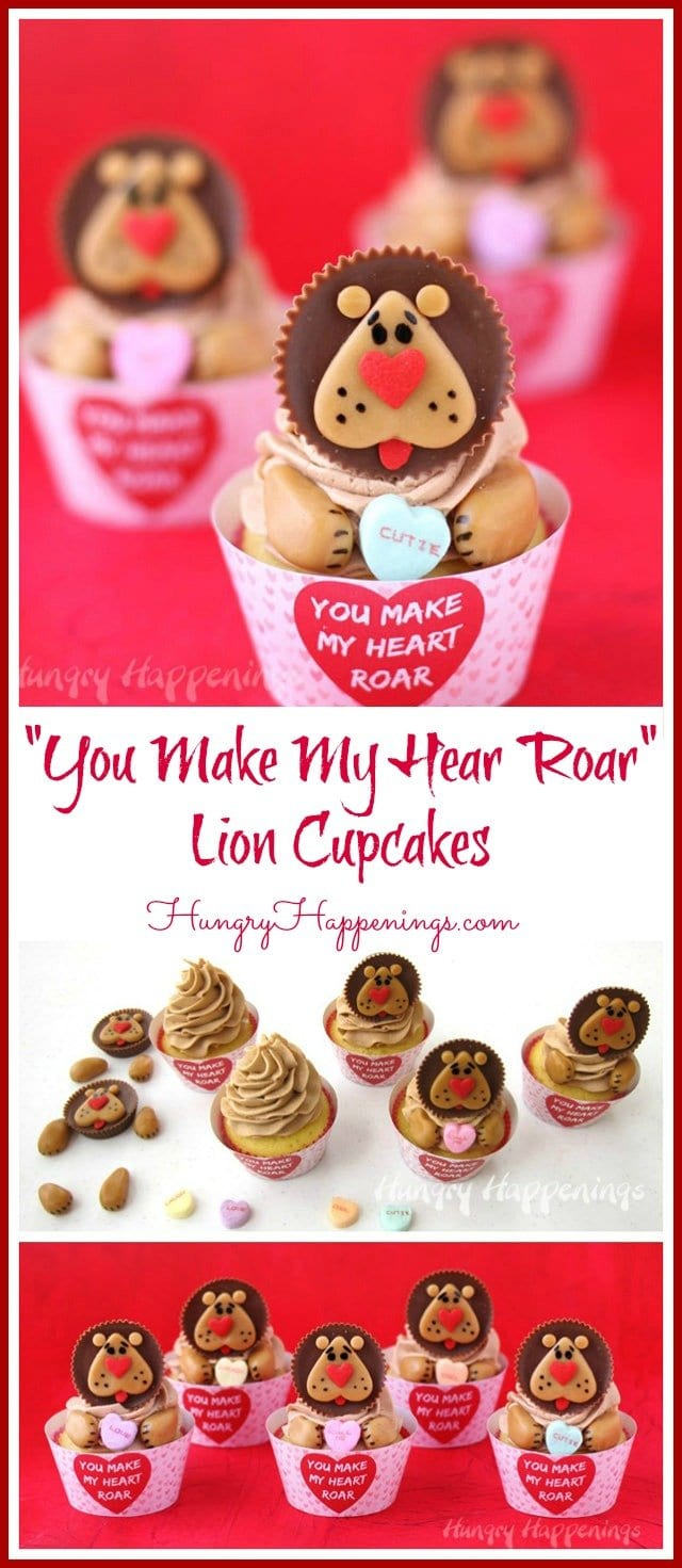 "Turn Reese's Cups into adorably cute lions using caramel and heart sprinkles then use them to make Lion Cupcakes with ""You Make My Heart Roar"" Cupcake Wrappers for Valentine's Day."