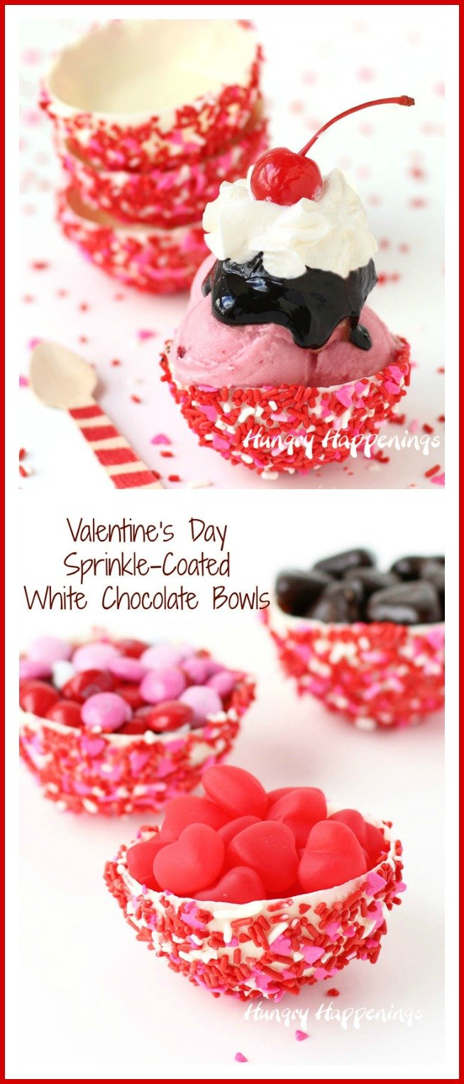 Sprinkle-Coated White Chocolate Bowls - Valentine's Day