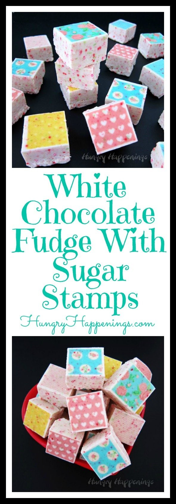 Add colorful designs to your fudge, chocolate, or meringues in one easy step. Today I'll show you how to Decorate White Chocolate Fudge with Sugar Stamps for Valentine's Day or any day.