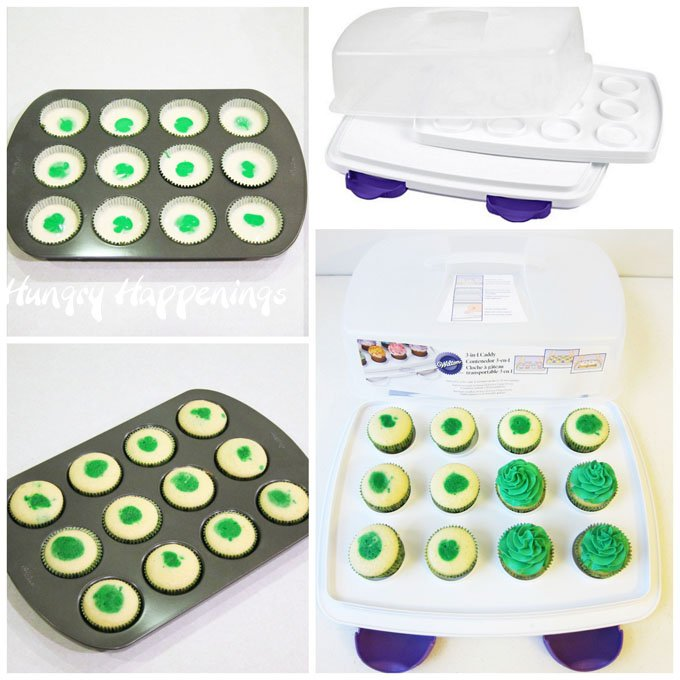 Make two-tone cupcakes using a Wilton cupcake pan then store them in a cupcake carrier.