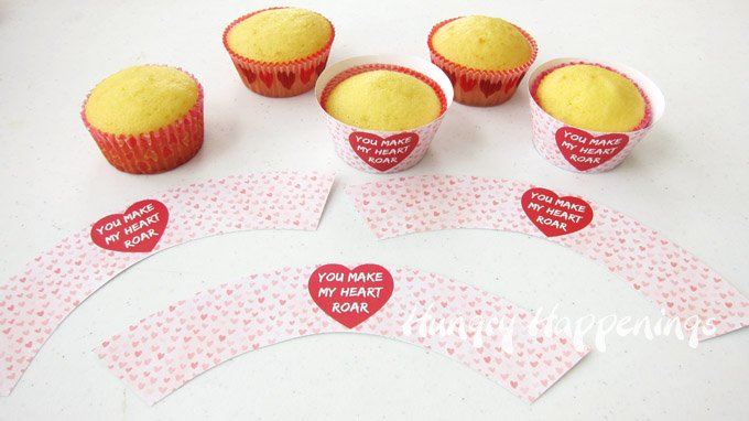 """You Make My Heart Roar"" Cupcake Wrappers"