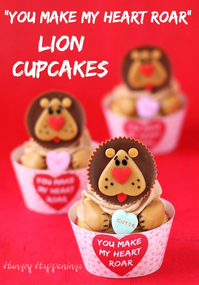 Lion Cupcakes made with Reese's Cup lions which are decorated with caramel and heart sprinkles for Valentine's day.